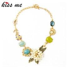 KISS ME дизайн KISS ME модные ювелирные изделия изящный Цветок из искусственного жемчуга кулон ожерелье