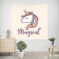 Cute Unicorn Tapestry Wings Flying Horse Horn Head Rainbow Baloon Umbrella Girls Cartoon Wall Hanging For Kids Party Decoration