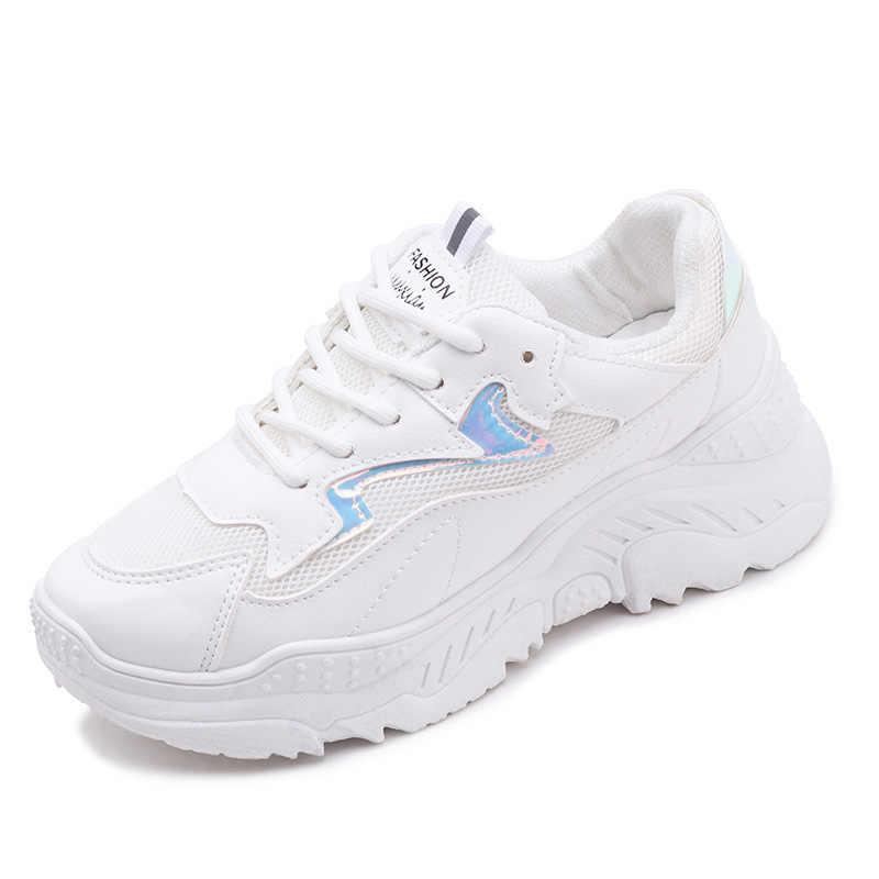 2019 รองเท้าผู้หญิงรองเท้าฤดูใบไม้ร่วงสีขาวรองเท้าผ้าใบแฟชั่นผู้หญิงยี่ห้อ Retro แพลตฟอร์มรองเท้าสุภาพสตรีรองเท้า Breathable ตาข่ายรองเท้าผ้าใบ
