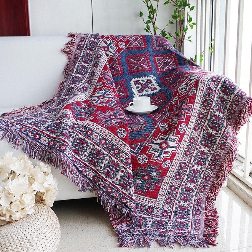 Double Sides Reversible Bohemian Style Cotton Blanket