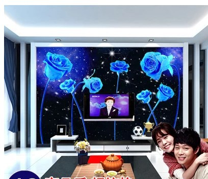 US $31 99 |modern minimalist large mural wallpaper living room bedroom TV  background wall paper upscale Star sky blue rose-in Wallpapers from Home