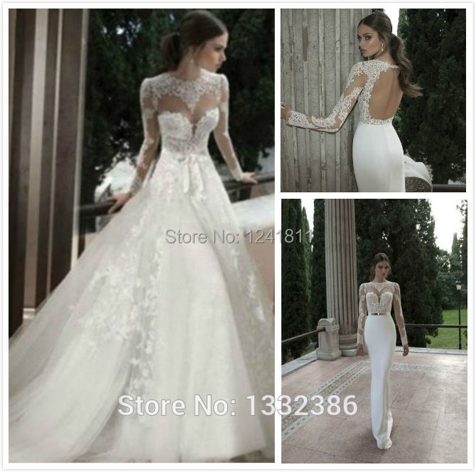 Hot2014 lovely lace long sleeve wedding dresses detachable for Wedding dress removable skirt