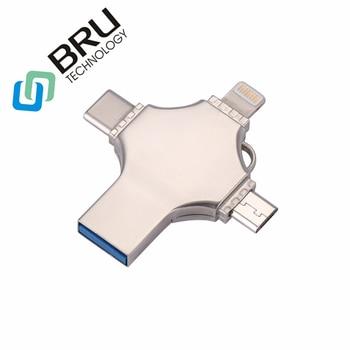 BRU 64 32 16G G G 128 GB OTG USB Flash Drive para iPhone5S/6/6 S /6 plus/7/7 Plus/8 plusX Android-Tipo C 4in1 pendrive Logotipo Personalizado vara