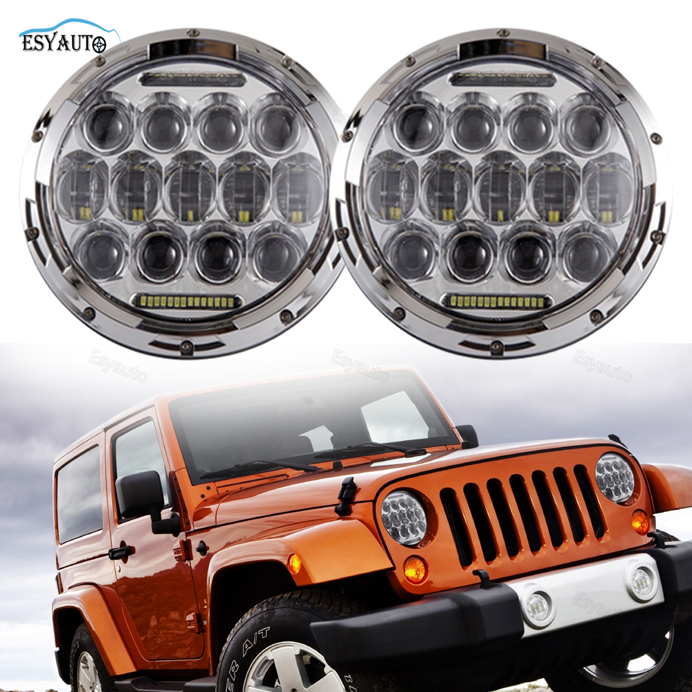 Black/Chrome 7 inch 75W LED Car Headlight High Low Beam 6000K LED Offroad Driving Lamp for jeep Wrangler CJ JK TJ (2 Pcs/Set) black chrome 7 inch 75w led car headlight high low beam 6000k led offroad driving lamp for jeep wrangler cj jk tj 2 pcs set