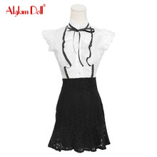 Alglam Doll Women 2 Pieces Set Ruffles OL Work Office Ladies Sleeveless Blouse Top Shirt + Mini Lace High Waist Skirt Dress