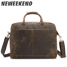 Genuine Leather Men's Casual Briefcase Business Messenger Handbag Crossbody Shoulder Bag For Man 15 Inch Laptop Bag 1019