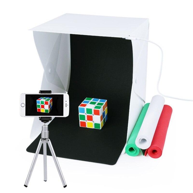 T&ACYML Mini Portable Photo Studio Folding Table Top 20pcs LED Light Box Photography Lighting Tent Backdrops Kit Photo Lightbox