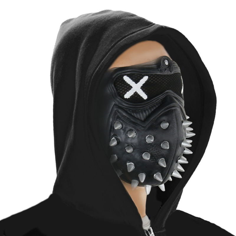 Game Watch Dogs 2 WD2 Mask Marcus Holloway Wrench Cosplay Rivet Face Mask Half Face PVC Plastic Mask Party Cosplay Props