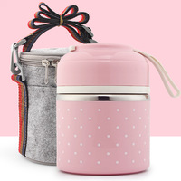 Cute Portable Lunch Boxs With Bag Mini Japanese Bento Box Leak Proof Stainless Steel Thermal Kids