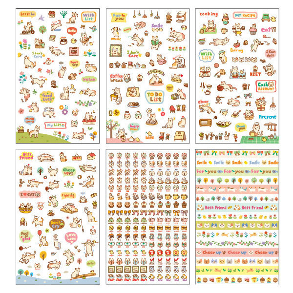6 sheets/set Korea stationery Life Painting Diary stickers animal cute cats Decorative cartoon stickers child DIY toy