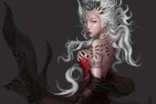 Home decoration fantasy goddess dress gown jewelry hair face asian oriental eyes creepy demon women sexy sensual  poster S059