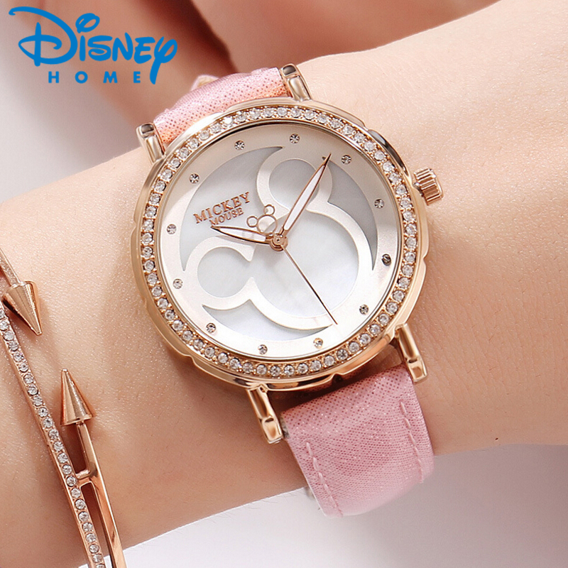 все цены на Fashion Mickey Mouse Watches Women Luxury Leather Quartz Wrist Watches for Women Ladies Watch Female Clock Hodinky Montre Femme онлайн