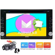 New Customized Black Car DVD Player Android 6.0 two 2Din Car Stereo Auto Radio Player Wifi supports 3G/4G Mic OBD2+Backup Camera