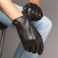 цена на Men'S High Quality Leather Gloves 2019 New  Winter Touch Screen Sheepskin Gloves Stylish Wrist Driving Gloves 3- EM011