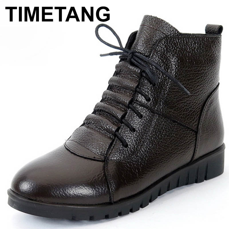 TIMETANG Plus Size(35-43) Winter Women Shoes Woman Genuine Leather Flat Ankle Boots Female Lace-up Snow Boots Women Boots C282 free shipping women fashion winter shoes genuine leather ankle boots wedges female winter working boots plus size 34 41