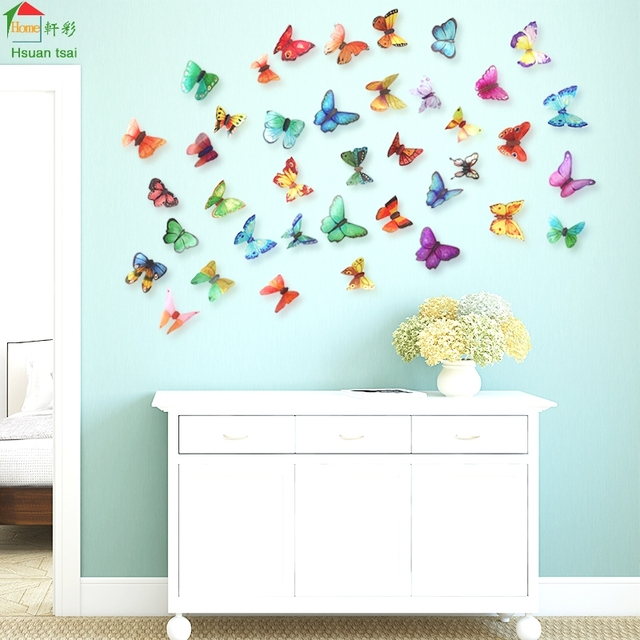 Aliexpresscom Buy Big butterfly flowers vinyl wall stickers