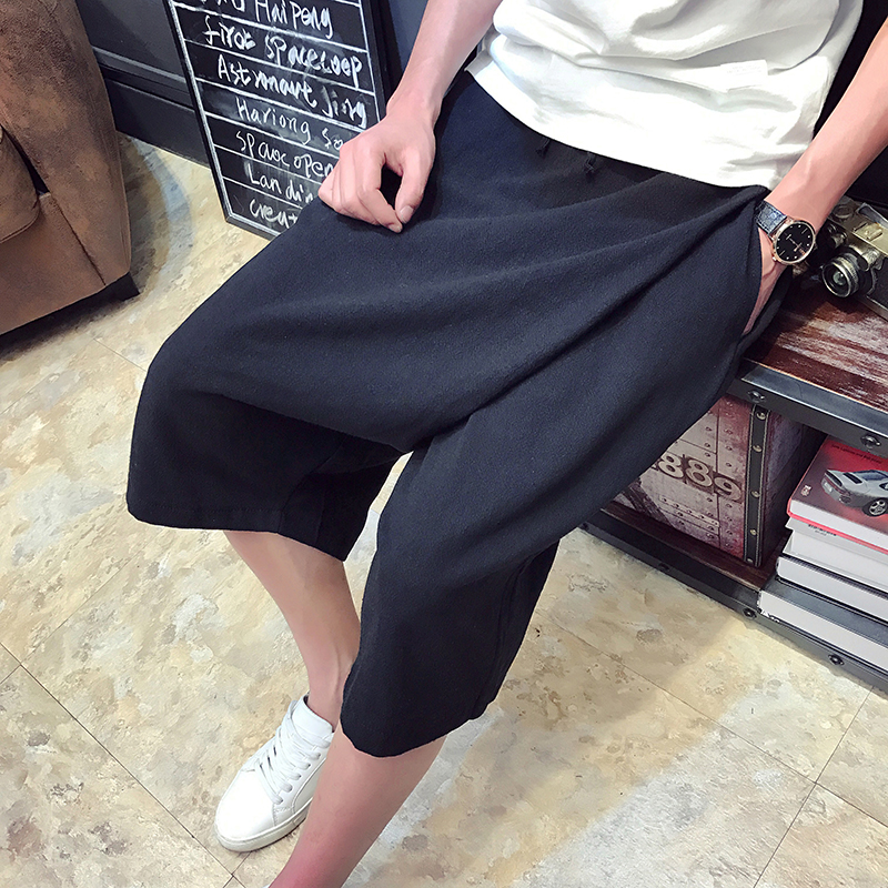 2017 summer new Chinese Style harem shorts men's linen shorts breathable loose casual mens shorts plus size 5XL Fashion novelty
