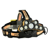 Outdoor Super Bright LED Headlamp Headlight Micro USB Charging Rechargeable Head Torch Use 18650 Battery Gold