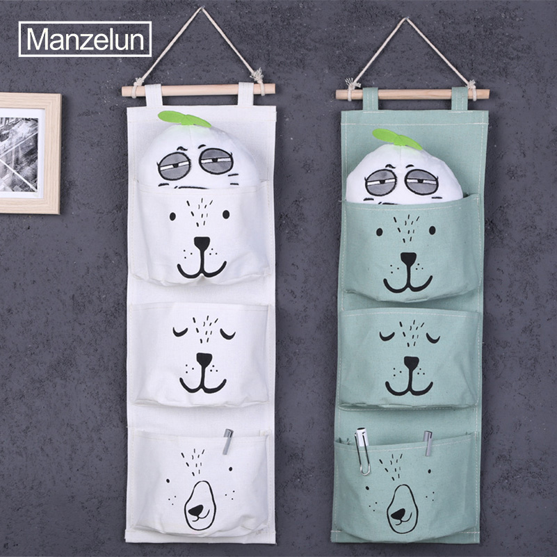 Polor Bear Canvas Hanging Storage Bag 3 Pockets Wall Mounted Wardrobe Closet Hang Bag Tidy Organizer Home Storage & Organization