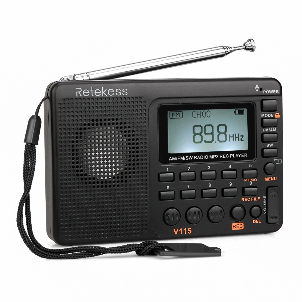 TIVDIO V-115 FM/AM/SW Radio Ricevitore Suono Dei Bassi MP3 Player REC Registratore Radio Portatile con Timer di Spegnimento f9205A
