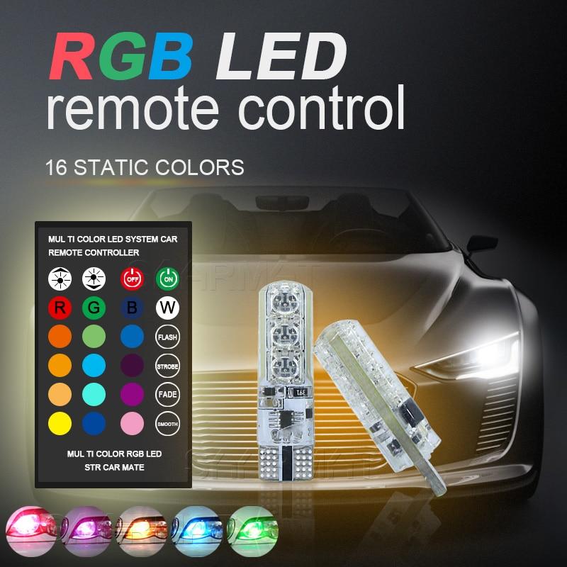 1 Cüt T10 W5W 194 RGB LED Təmizləmə İşıq Lampa Park Lampası - Avtomobil işıqları - Fotoqrafiya 3