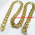 12/15/17mm Customized Size Cool Mens Jewelry Gold Plated 316L Stainless Steel Cuban Curb Chain Men's Boy's Necklaces or Bracelet