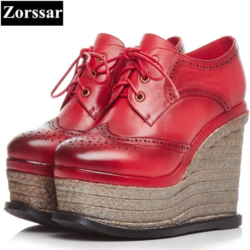 цена на {Zorssar} Womens shoes round Toe platform wedges high heels pumps woman Creeper shoes 2018 Genuine leather lace up shoes women