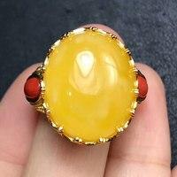 RADHORSE 925 Серебряные кольца для Для женщин Fine Jewelry Италия ремесел сырой руды натуральный янтарь круглый камень кольца регулируется серебряные