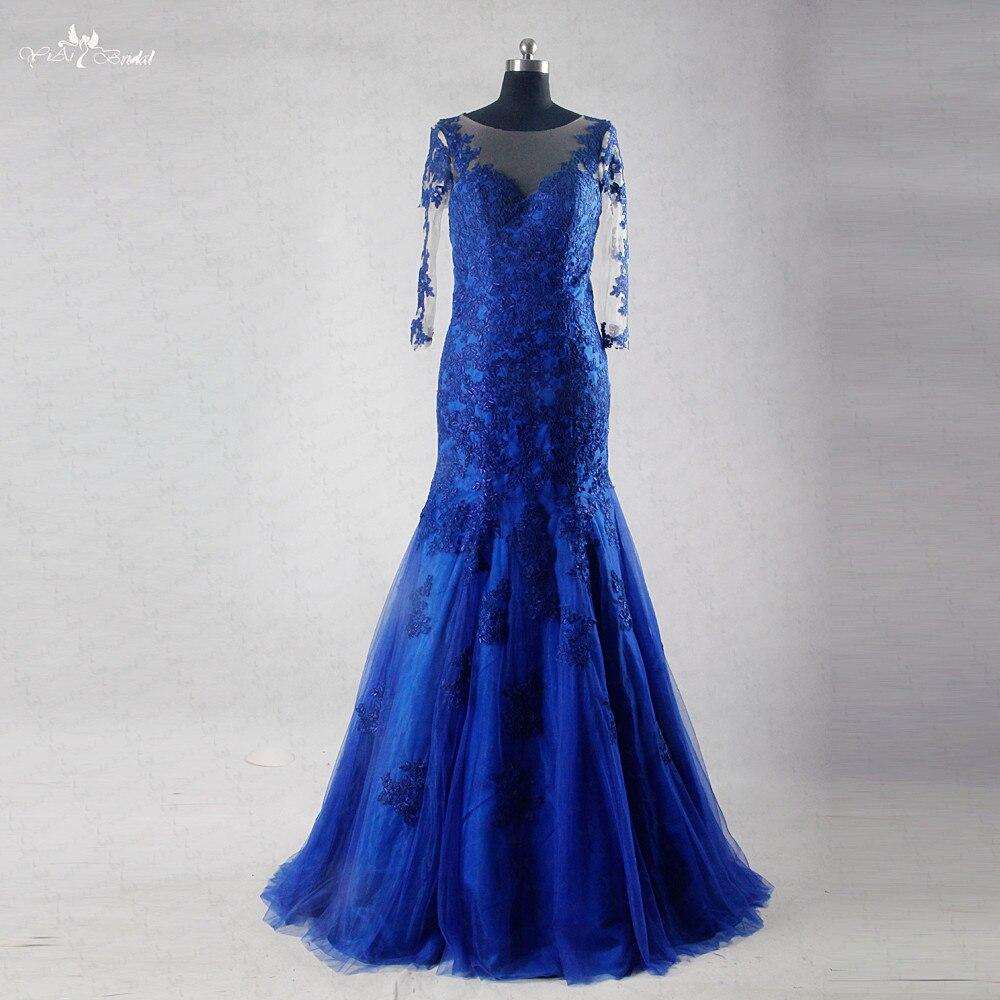 RSE733 robe en dentelle bleu Royal à manches longues robes De bal robe De sirène De Baile