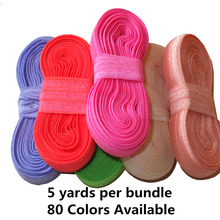 5 yards /bundle Fold Over Elastic 5/8 inch FOE Elastic ribbon DIY material Headband Hair ties Hair band Hair bow 50 yards/lot