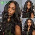 Luffy Pelo 180 Densidad Ondulado Llena Del Cordón Pelucas de Cabello Humano Con flequillo Para Mujeres Negro Brasileño de la Virgen Pelucas Llenas Del Cordón Con El Bebé pelo