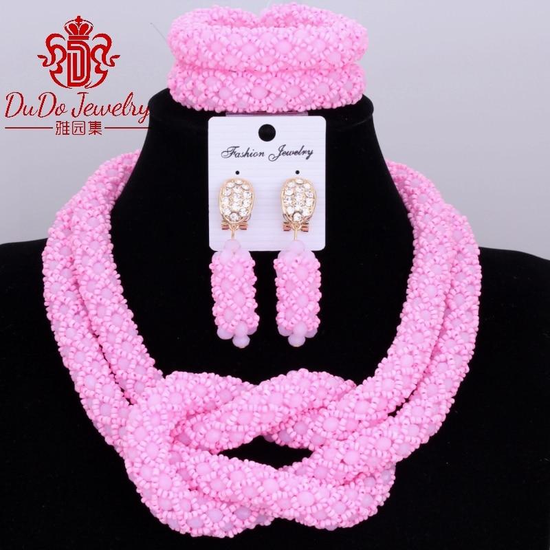 Statement Pink Necklace Set Nigerian Wedding African Beads Jewelry Sets Turkish Jewelry Set of Beads Christmas