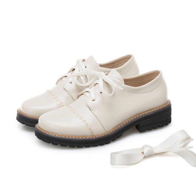 Новое поступление; женские повседневные туфли-оксфорды на низком каблуке в винтажном стиле; Модные женские оксфорды на шнуровке с круглым носком; размеры 34-43; женские кеды