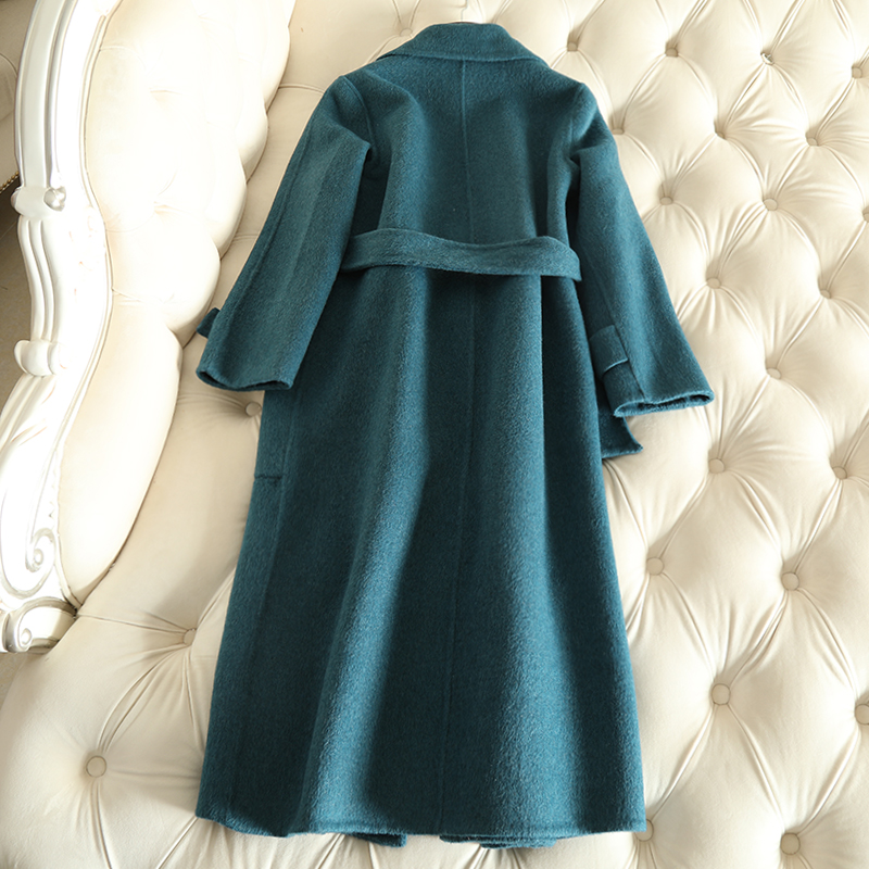 QIAN SI CHEN 19 Autumn New 100% Cashmere Coat Alpaca Warm Winter Coat Women Long Wool Coat Office Lady Slim Female Overcoat 27