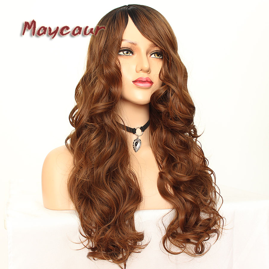 Maycaur Glueless Black Long Wavy Wig with Side Bangs Synthetic Hair Wigs for Women Heat Resistant Fiber Hair Wigs (8)