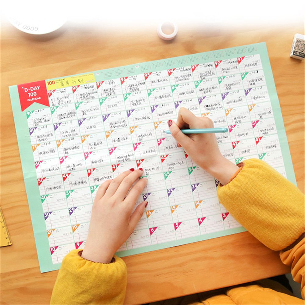 New 100 Day Countdown Calendar Learning Schedule Periodic Planner Table Gift For Kids Study Planning Learning School Supplies