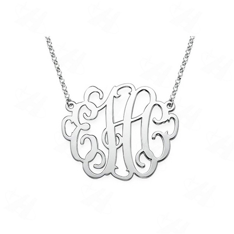 Custom name monogram necklace silver plated pendant necklace custom name monogram necklace silver plated pendant necklace necklace women best friends gift fashion jewelry in aliexpress in pendant necklaces from aloadofball Gallery