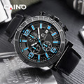 CAINO Mens Chronograph New Hot Top Brand Luxury Military Wristwatches Fashion Large Dial Calendar Leather Band Quartz Watch For