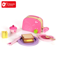 Classic World Children Kitchen breakfast Cooking Bread Toaster Set Toy play house Magnetic adhesion Water paint Smooth edges