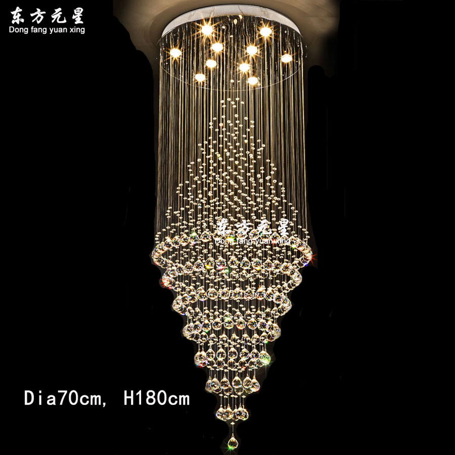Crystal chandelier led lamp stair light droplight villa double entry crystal chandelier led lamp stair light droplight villa double entry long circular crystal lighting for the lobby in chandeliers from lights lighting on aloadofball Gallery