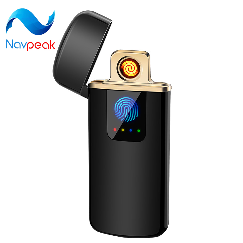Electronic USB Slim Lighter Rechargeable Flameless Windproof Fingerprint Gift