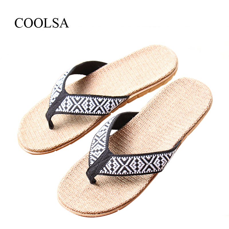 COOLSA Men's Summer Flat Totem Linen Flip Flops Indoor EVA Hemp Flax Slippers Men's House Slippers Beach Slides Flip Flops Hot coolsa women s summer flat cross belt linen slippers breathable indoor slippers women s multi colors non slip beach flip flops