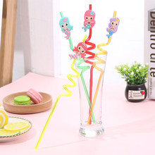 4Pcs/lot Creative Mermaid Straws Party Decoration Festive Supplies Paper Drinking Straws Event Supplies(China)