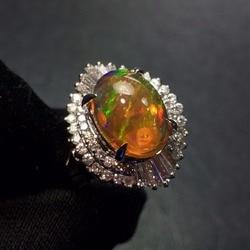 Изысканные ювелирные изделия, настоящая чистая платина Pt900, ювелирные изделия со стразами, 100% натуральные опаловые драгоценные камни, 2.82ct, ж...