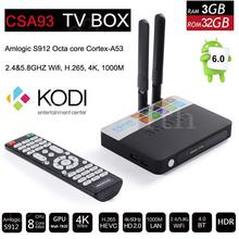 3 GB RAM 32 GB ROM Android 6.0 TV Box 2 GB 16 GB Amlogic S912 Octa Core CSA93 Streaming Reproductor Multimedia Inteligente Wifi BT4.0 4 K TVbox KODI