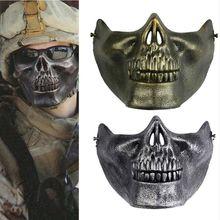 Страйкбольная маска Хэллоуин Череп тушь праздничные страшные маски маскарад косплей маска ужаса Половина лица рот маска армейская игра маска