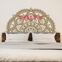 Half Mandala Flower Master Bedroom Vinyl Wall Decor Decal Indian Floral Zen Yoga Half Mandala Wall