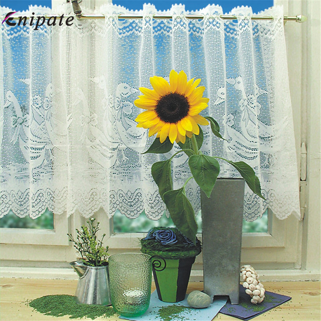 Enipate Embroidery European White Lace Sheer Curtains Valance Window Tulle Curtains Coffee Door Curtain Bedroom Roman Blinds
