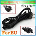 EU EUROPEAN 3 Prong 2 Pin AC Laptop Power Cord For Asus HP Sony Dell lenovo Acer Sumsung High Quality, Free&Shipping