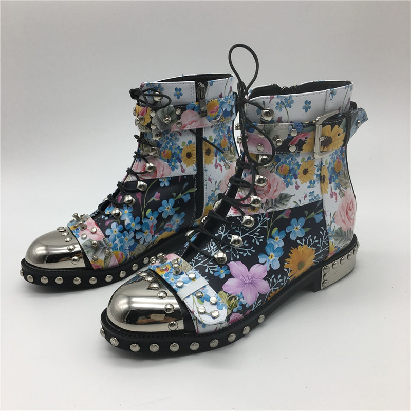 Punk-Style-Colorful-Printed-Color-Motorcycle-Boots-Studded-Buckle-Cross-tied-Metal-Decor-Rivet-Ankle-Boots (3)